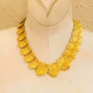 Kenneth Jay Lane Gold Leaf Wreath Choker Necklace